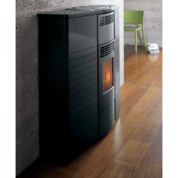 Pellet stove slimmy save space 9kw black palazzetti - Pellet stoves for small spaces set ...