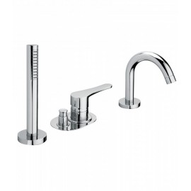 Bongio O'CLOCK deck bath mixer with handshower set