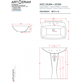 ARTCERAM JAZZ WALL-HUNG/FOR COLUMN  WASHBASIN 70 1 HOLE WITH ARRANGEMENT FOR 3 HOLES JZL004