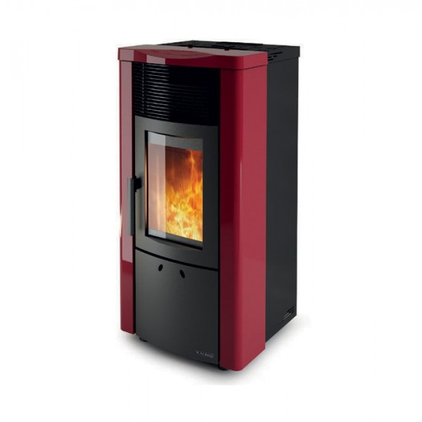 pellet burning stove noemi steel bordeaux 12 kw dal zotto