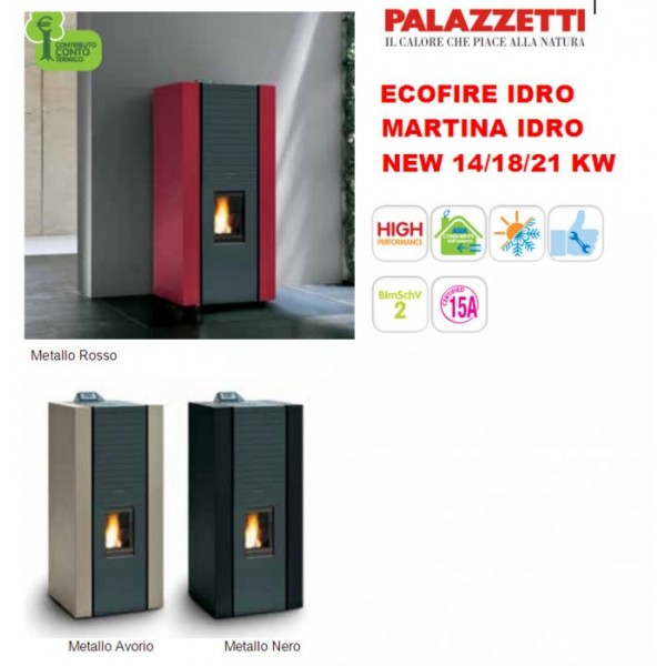 Heating stove pellets martina idro lux avorio 15kw for Stufa a pellet idro palazzetti martina 15 kw