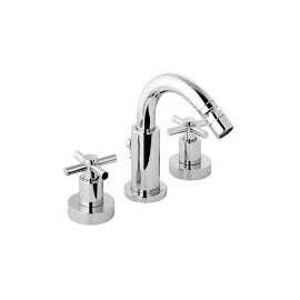 "T CROSS Bidet mixer 3 holes with swivel spout with pop-up waste 1.1/4"" Chrome  Bongio 30503-BG"