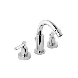 "T LEVER Bidet mixer Tre holes swivel spout with pop-up waste 1.1/4"" Chrome  Bongio 31503-BG"