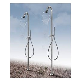 Steel free standing shower column , mixer and monowater feeth cleaning systemBongio 70131-AS