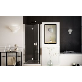 Spacedue Bifold Door Shower cabin  from  90cm Chrome  Crystal 6mm Transparent