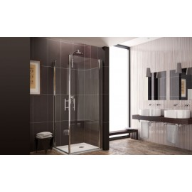 Side Corner due Porte Shower cabin  from  80X80cm Chrome  Crystal 6mm Transparent