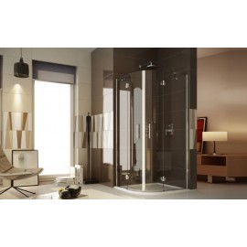Estro Rectangular half round Panels Shower cabin  from  70X90cm Chrome  Crystal 6mm Transparent