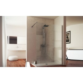 Pharo Fixed Shower Screen  from  80cm Chrome  Crystal 6mm Transparent