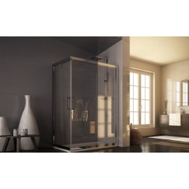 Roma Corner Panels Shower cabin  from  100X80cm Chrome  Crystal 6mm Transparent