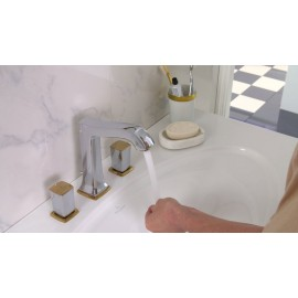 Metropol Classic 3-hole basin mixer 160 with zero and push-open handle  Cromo Oro  Hansgrohe 31305090