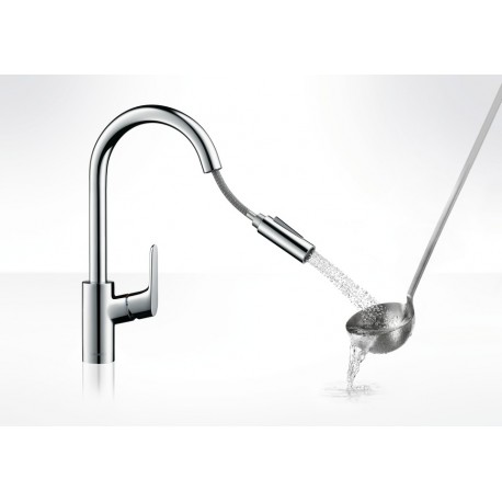 Focus Kitchen SINGLE LEVER KITCHEN TAP WITH PULL White Hansgrohe ...