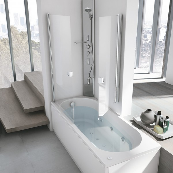 Vasca combinata nova box 180x80 hafro geromin for Vasca da bagno combinata