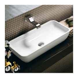 PASS WASHBASIN 60 COUNTERTOP CENTRAL HOLE WHITE  S - Ceramica Flaminia PS60A