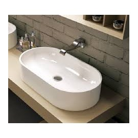 PASS OVAL WASCHBECKEN 65 COUNTERTOP CENTRAL HOLE WHITE  S - Ceramica Flaminia PS65AT